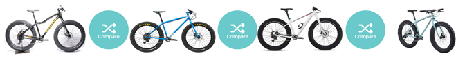 Compare 4 of the best fatbikes from 9:ZERO:7, Charge, Specialized, and Surly