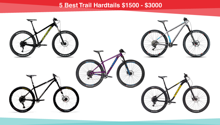 5 Best Trail Hardtail Mountain Bikes priced from $1500 to $3000