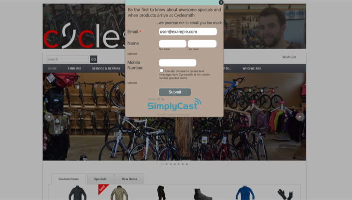 Cyclesmith's website is programmed to capture customer emails