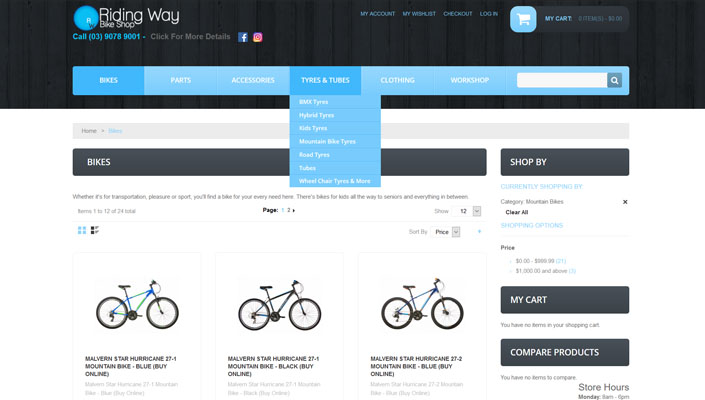 Riding Way's website handles online sales