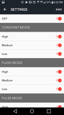 CycliqPlus app screenshot - Android - light settings for Fly12