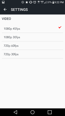 CycliqPlus app screenshot - Android - video settings for Fly12