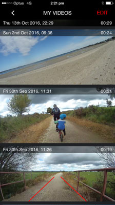 CycliqPlus app screenshot - iPhone - viewing Fly12 videos