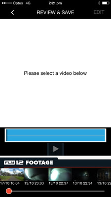 CycliqPlus app screenshot - iPhone - selecting Fly12 video to review or edit