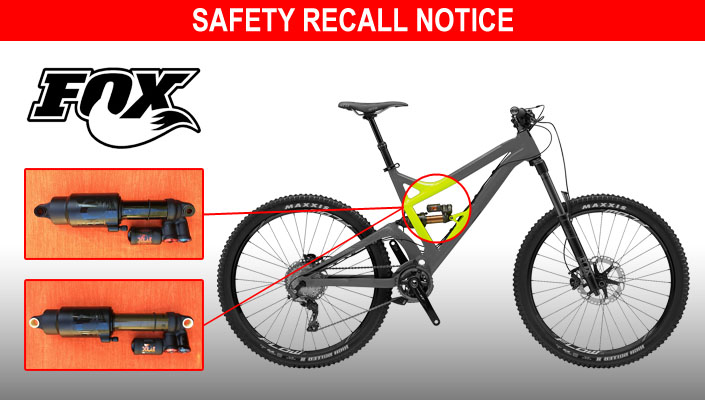 FOX recalls some FLOAT X2 mountain bike rear shock absorbers.