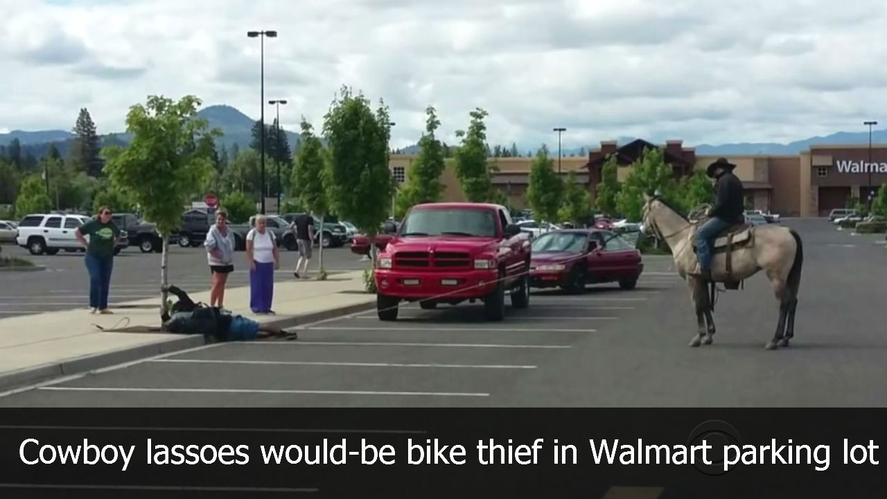 Cowboy lassoes would-be bike thief in Walmart parking lot