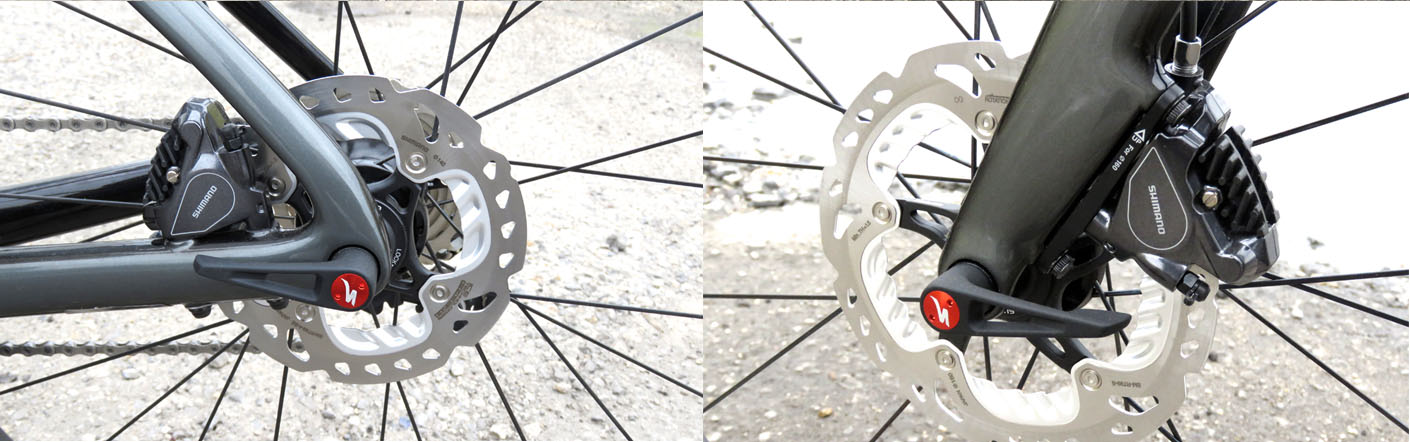 Close up of disc brakes on Specialized Venge ViAS Pro Disc