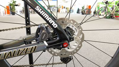 Rear disc brake caliper and rotor of Peter Sagan's S-Works Venge ViAS Pro Disc at Tour Down Under