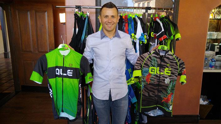 Pietro Caucchioli displays some of Ale's vibrant clothing options