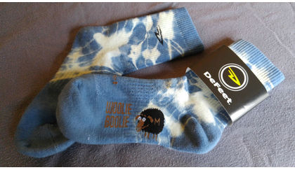 DeFeet Bespoke Woolie Boolie cycling socks by Melanie Wilder / Wild Earth Textiles