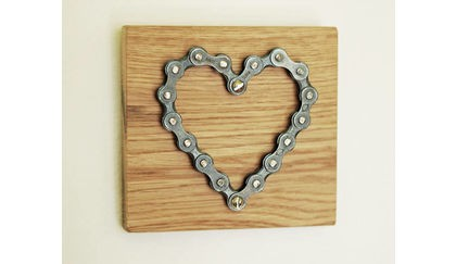 Broke and Tipple 'Bicycle Chain Heart on Oak'
