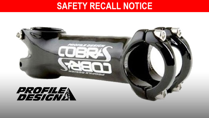 Profile Design Cobra S bicycle handlebar stems are being recalled.