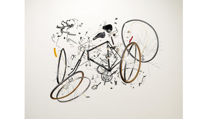 Disassembled bicycle from the book 'Things Come Apart' by Todd McLellan