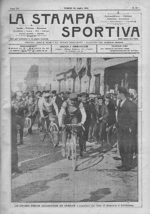 'Giro di France' 1904 newspaper coverage by 'La Stampa Sportiva.'