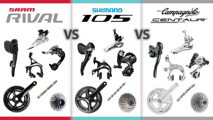 Compare: Shimano 105 v. SRAM Rival 22 v. Campagnolo Centaur