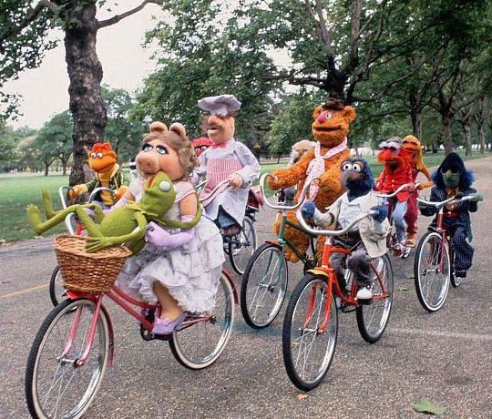Muppets group bike ride
