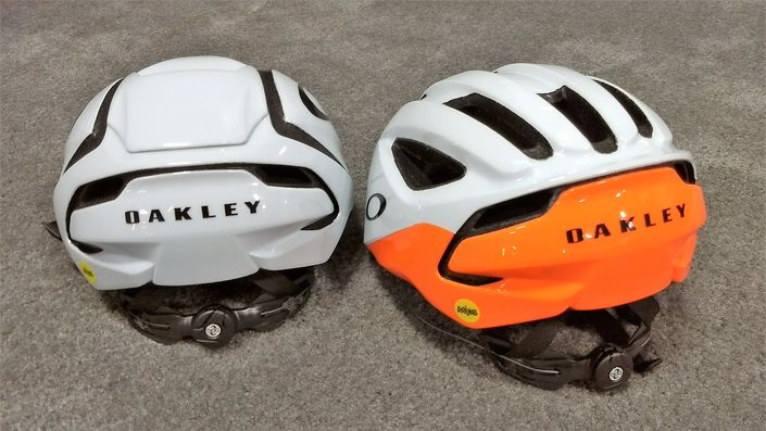 Oakley ARO5 (left) and ARO3 helmets - rear