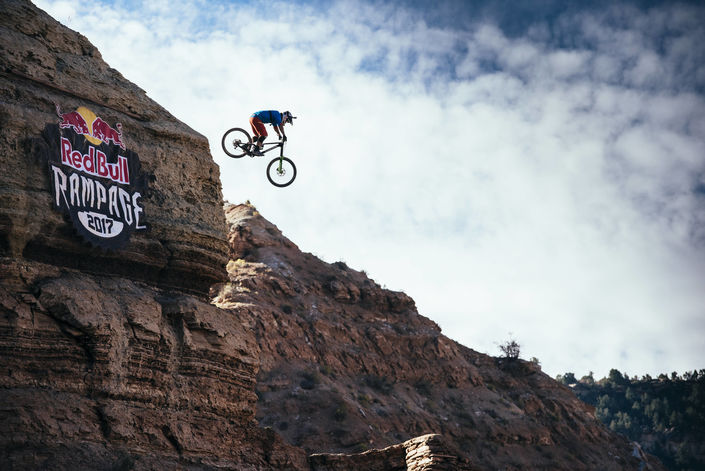 Darren Berrecloth practices at Red Bull Rampage in Virgin, Utah, USA on 26 October, 2017