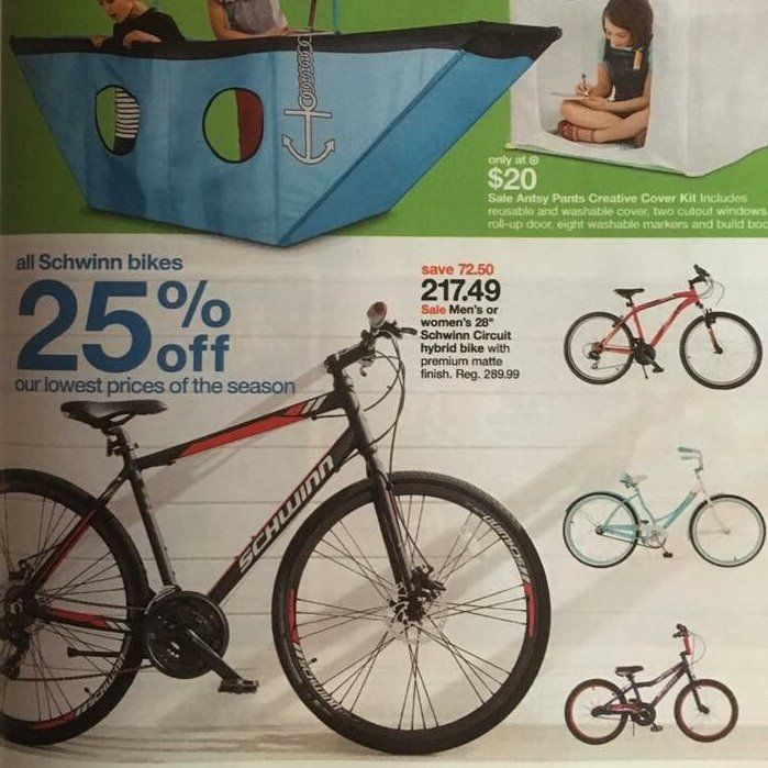 Big box bicycle advertisement with fork on backwards
