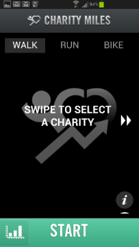 Select activity - Charity Miles