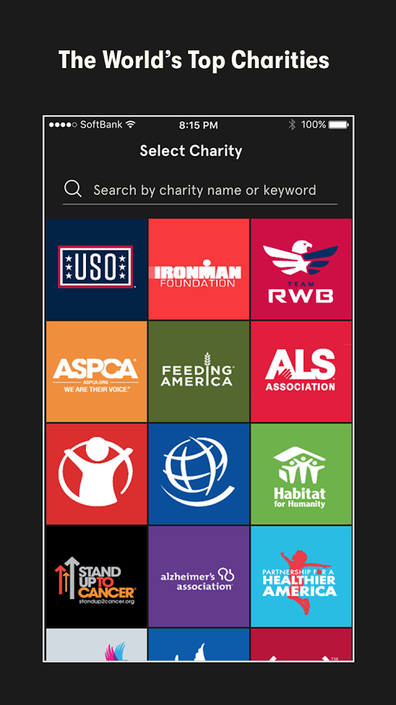 Select a charity - Charity Miles