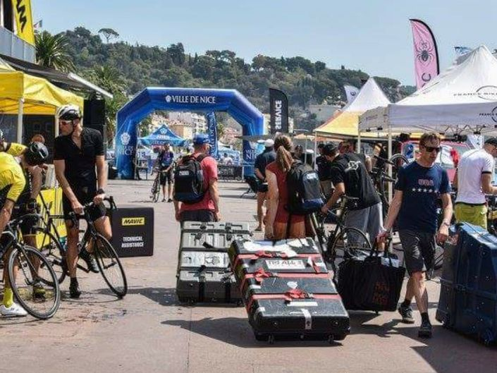Arriving in Nice with bike boxes in tow
