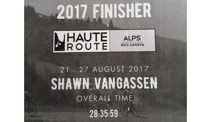 Shawn VanGassen's finishing stats for Haute Route Alps