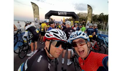 Shawn and Kim at the start of Haute Route Alps