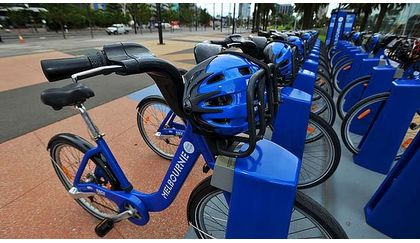 Melbourne bikeshare bicycles and helmets