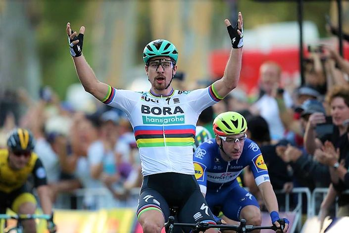Peter Sagan sprints to win the Tour Down Under's People's Choice Classic