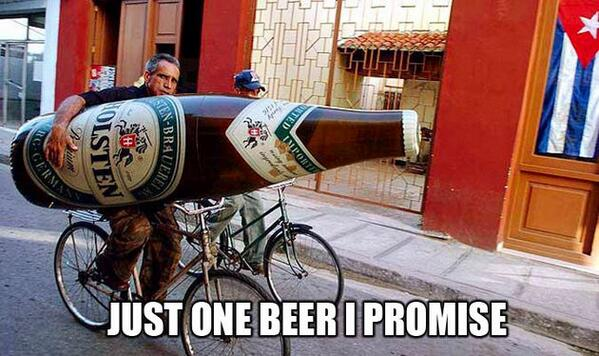 Cyclist holding a much bigger-than-life size beer with caption 'Just one beer I promise'