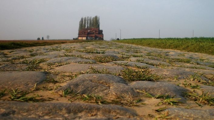 The cobblestones of Paris-Roubaix at Carrefour de l'Arbre / Pavé de Luchin