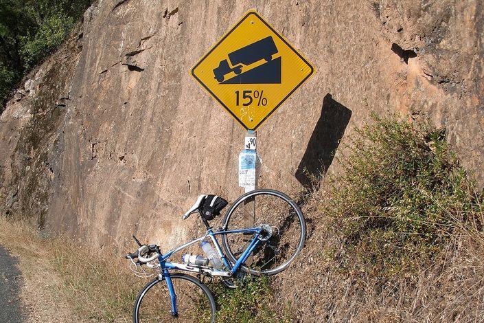 15% grade road sign