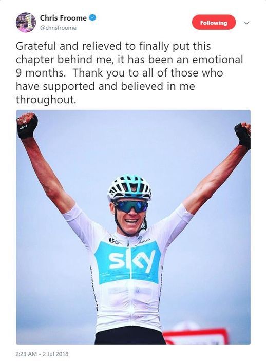 Chris Froome tweets in response to the UCI dismissing his case