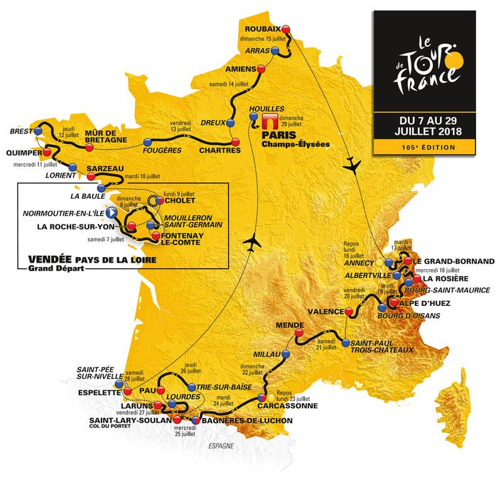 Route Map - Tour de France 2018