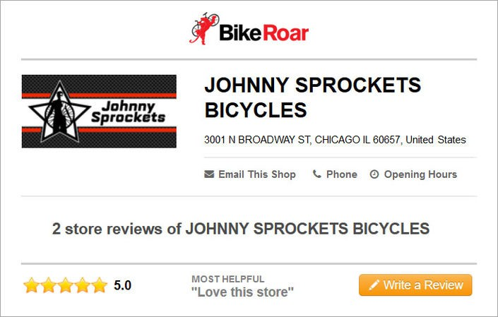 BikeRoar listing and reviews for Johnny Sprocket Cycles - Chicago, IL, USA