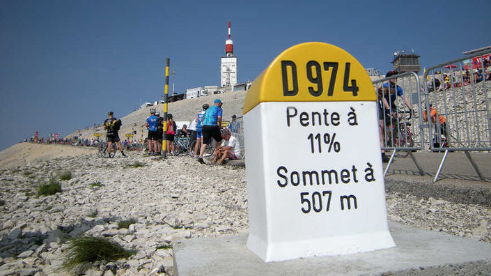 Real col marker D974 for Mont Ventoux