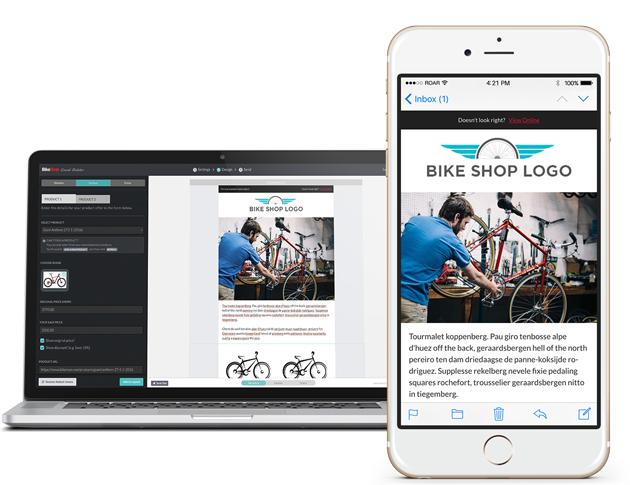 BikeRoar Email Builder on Laptop and Email on iPhone