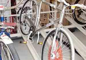 Big box bike with cranks on the wrong way